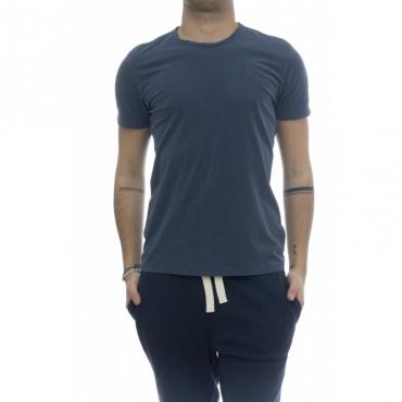 T-shirt - 001 07 t-shirt girocollo crep di cotone 513 - China Blue