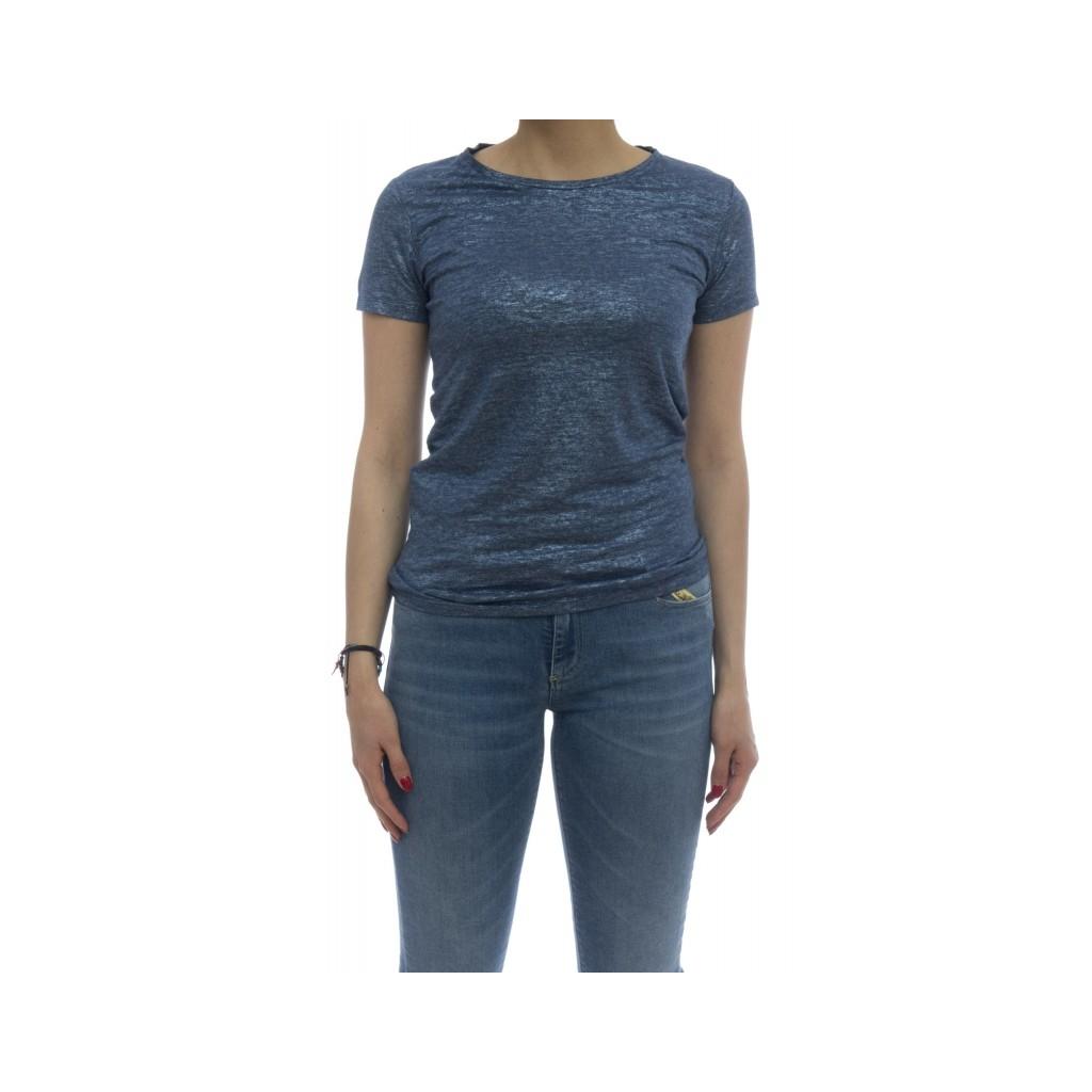 T-shirt - E09 02 t-shirt slim lino spalmato 161 - Blue Jeans