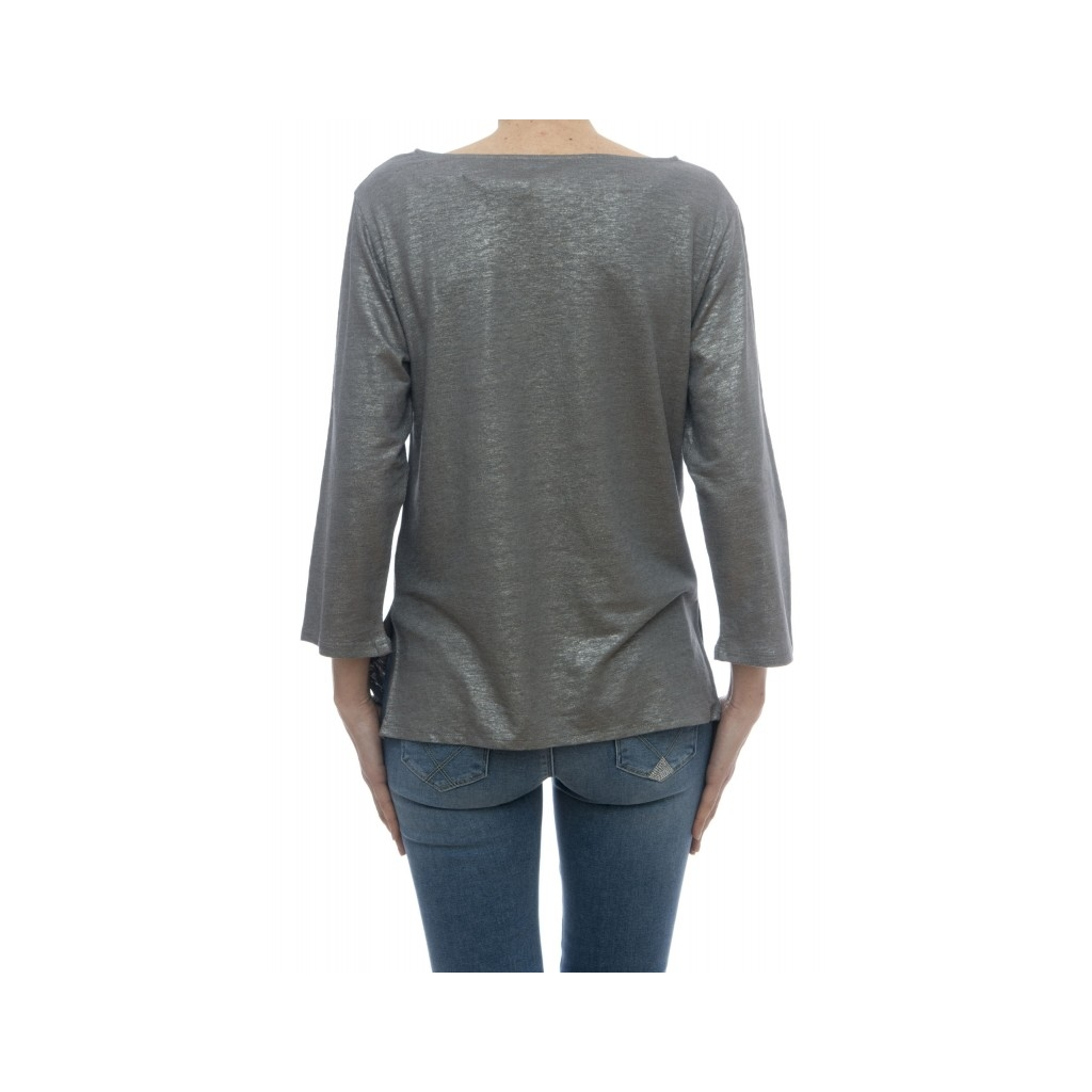 T-shirt - E09 08 lino seta elastane 669 - Metal Grey