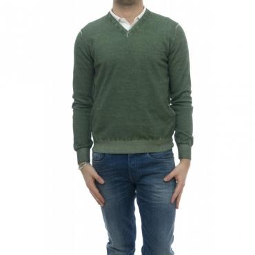 Maglia - 1481351 maglia scollo v lavato a freddo Ginepro
