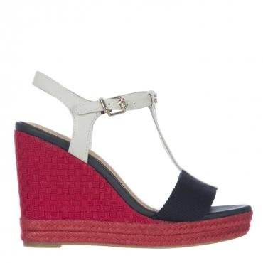 Sandalo in pelle con zeppa rossa  020RWB