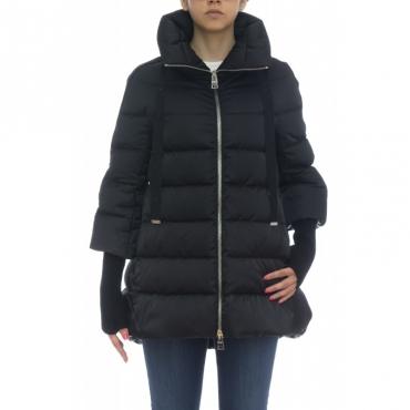 Piumino Donna- PI007DR 12170 resort raso manicotti maglia 9300 - black