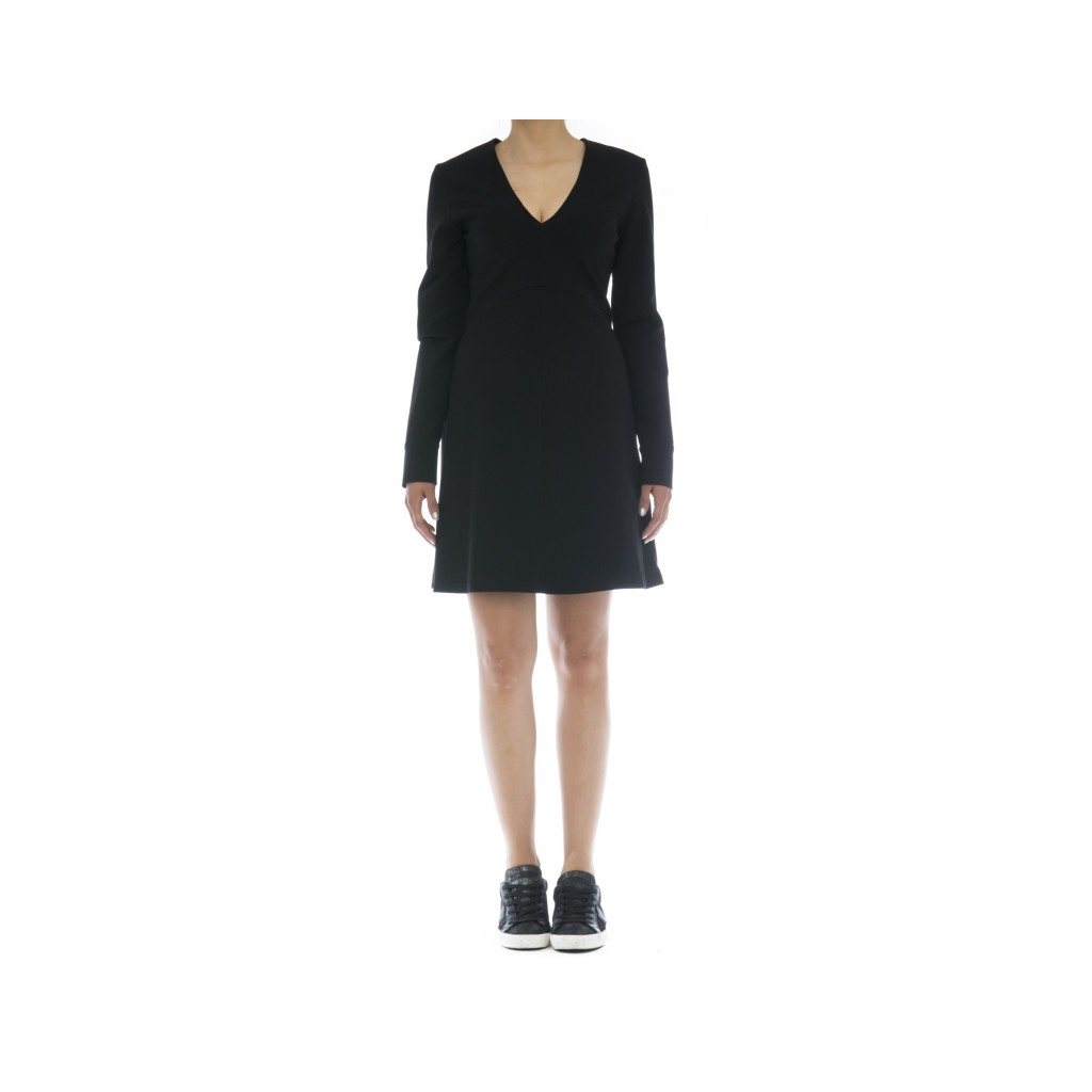Vestito - J7003 abito punto milano scollo v 003 - nero