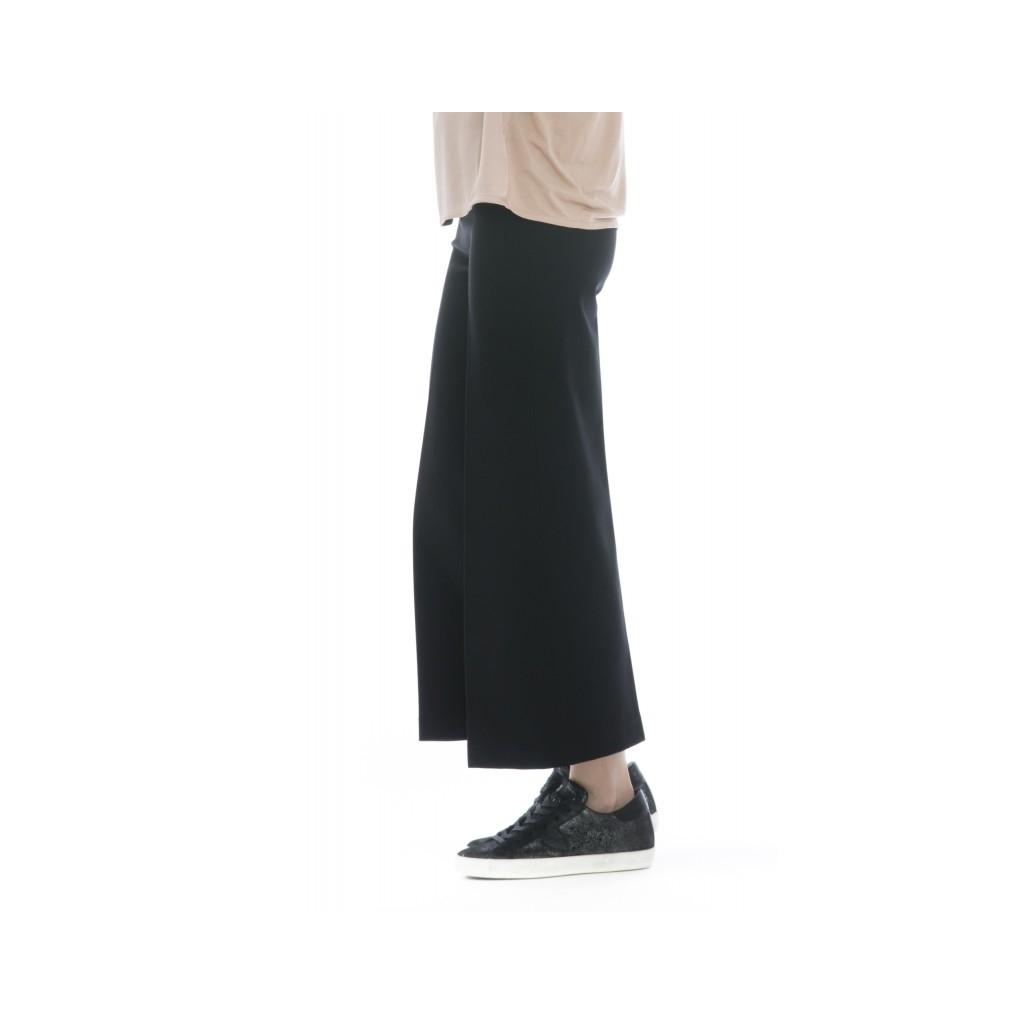 Pantalone donna - J4105 pantalone punto milano ampio elastico 003 - nero