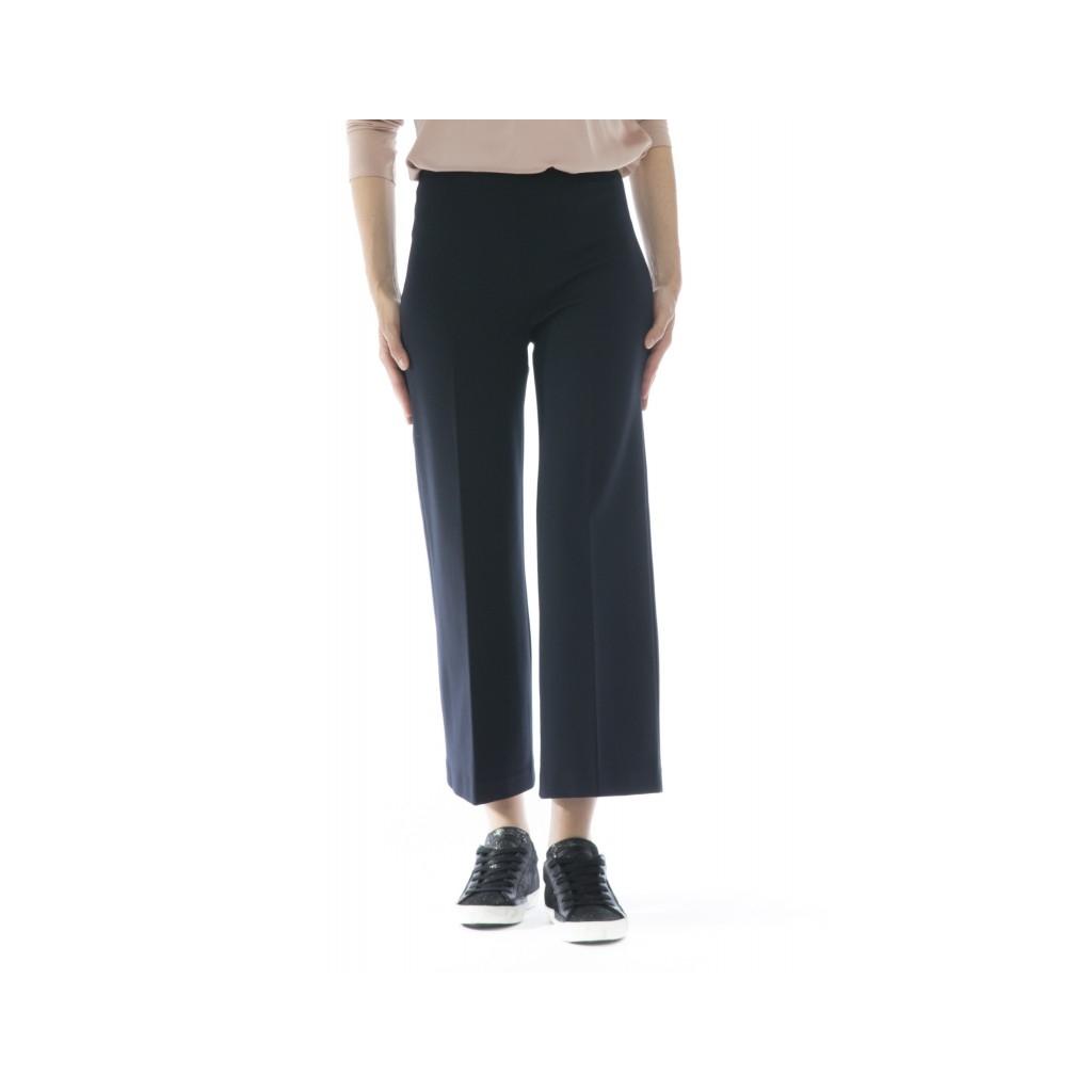 Pantalone donna - J4105 pantalone punto milano ampio elastico 1525 - Blu
