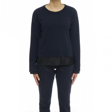 Maglia donna - J1316 maglia giro inserto 885 - blu