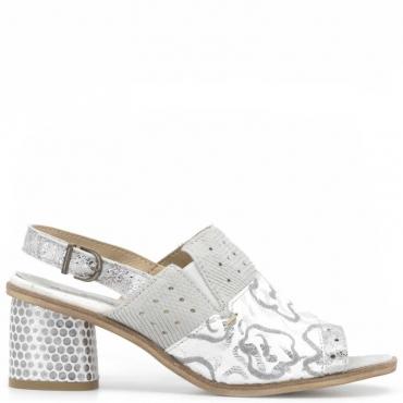 Sandalo in pelle bianco con dettagli argentati e tacco 7 cm SILVER
