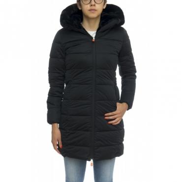 Piumino - D4013w sold7 cappottino strech con pelliccia 0001 - Nero