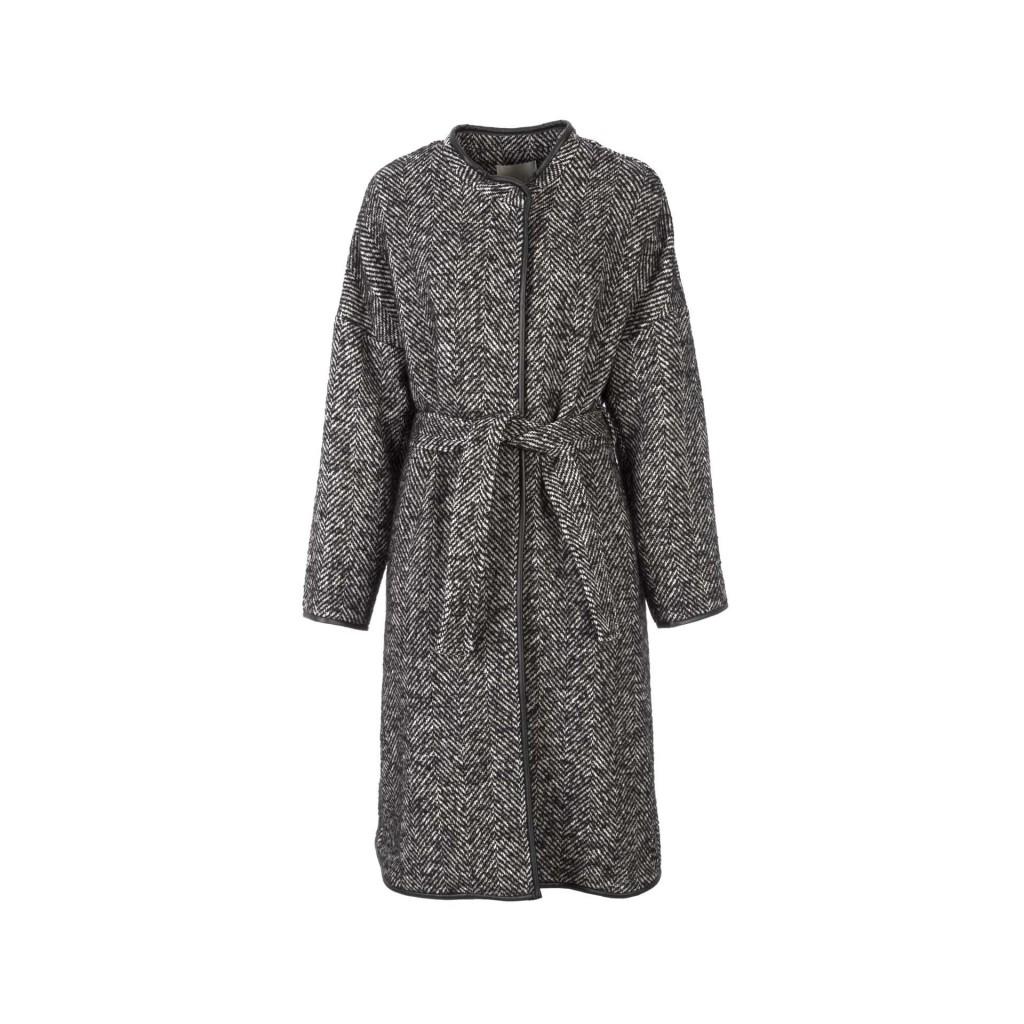competitive price 316ab f702d PINKO - Cappotto spigato lungo bianco e nero con cintura in vita ZZ...