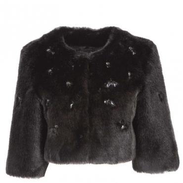 Eco-pelliccia nera corta con applicazioni gioiello Z99BLACK