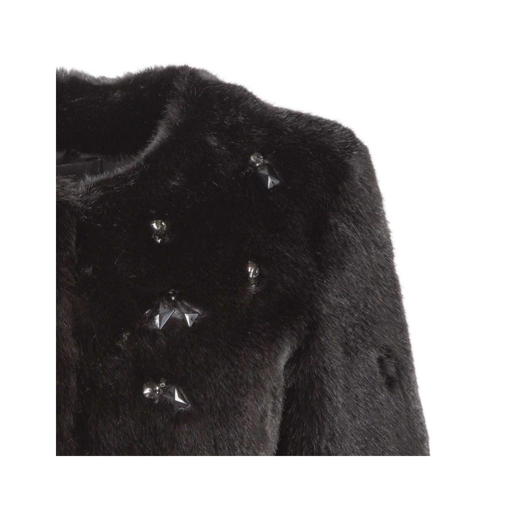 PINKO - Eco-pelliccia nera corta con applicazioni gioiello Z99BLACK ... e869b1fed7b