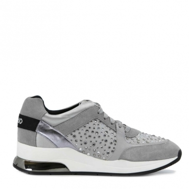 Sneakers Karlie con strass e plateau alto 01072GREY
