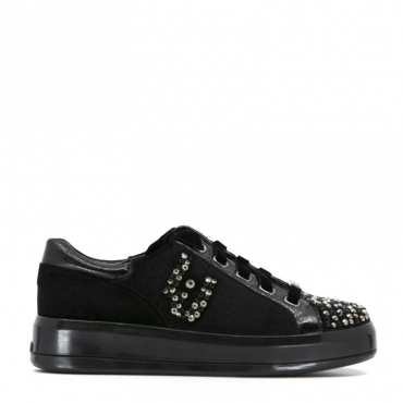 Sneakers Kim nere in velluto con strass 22222BLACK