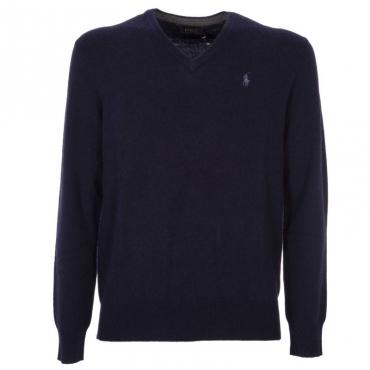 Pullover blu scuro in lana merino scollo a V e logo in contrasto HUNTERNAVY