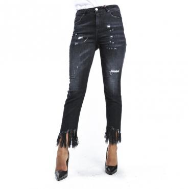 Pantalone skinny con perline sul fondo NERO