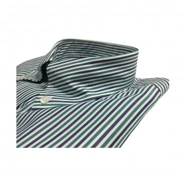 BROOKSBROTHERS camicia uomo manica lunga button-down con taschino mod 42212 100 cotone SUPIMA no iron Verde