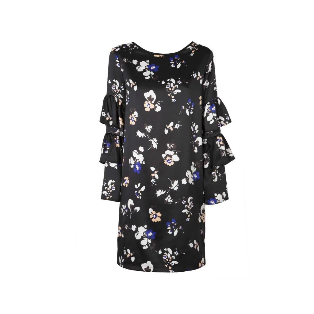 Black dress with white and blue flowers and flounced sleeves abito nero con fiori bianchi e azzurri e maniche a balze v9759neroli izmirmasajfo