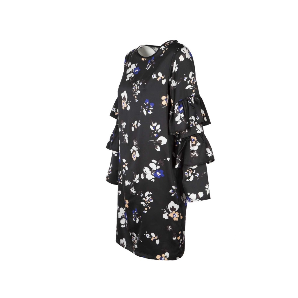 Black Dress With White And Blue Flowers And Flounced Sleeves
