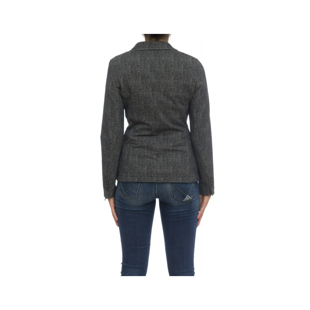 Giacca donna - Fd1155 giacca spinata cashmeire touch NERO