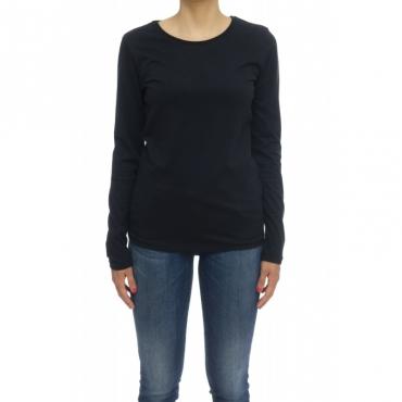 T shirt manica lunga Donna  - FTS037 J007 100 cotone manica lunga girocollo 002 - Nero