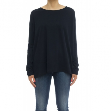 T-shirt donna - Fts027 j005 70 cotone 30 cashmeire t-shirt over 002 - Nero