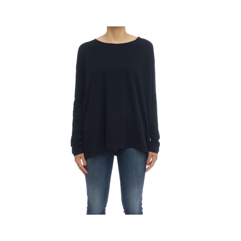 T-shirt donna - Fts027 j005 70 cotone 30 cashmeire t-shirt over 002 - Nero