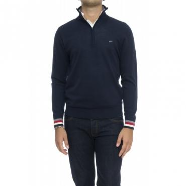 Maglia uomo - K28115 maglia mezza zip 07 - blu navy
