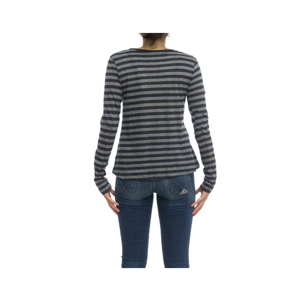 T shirt manica lunga - Fts054 j012 70 cotone 30 cashmeire rigata 803 - Blu Grigio