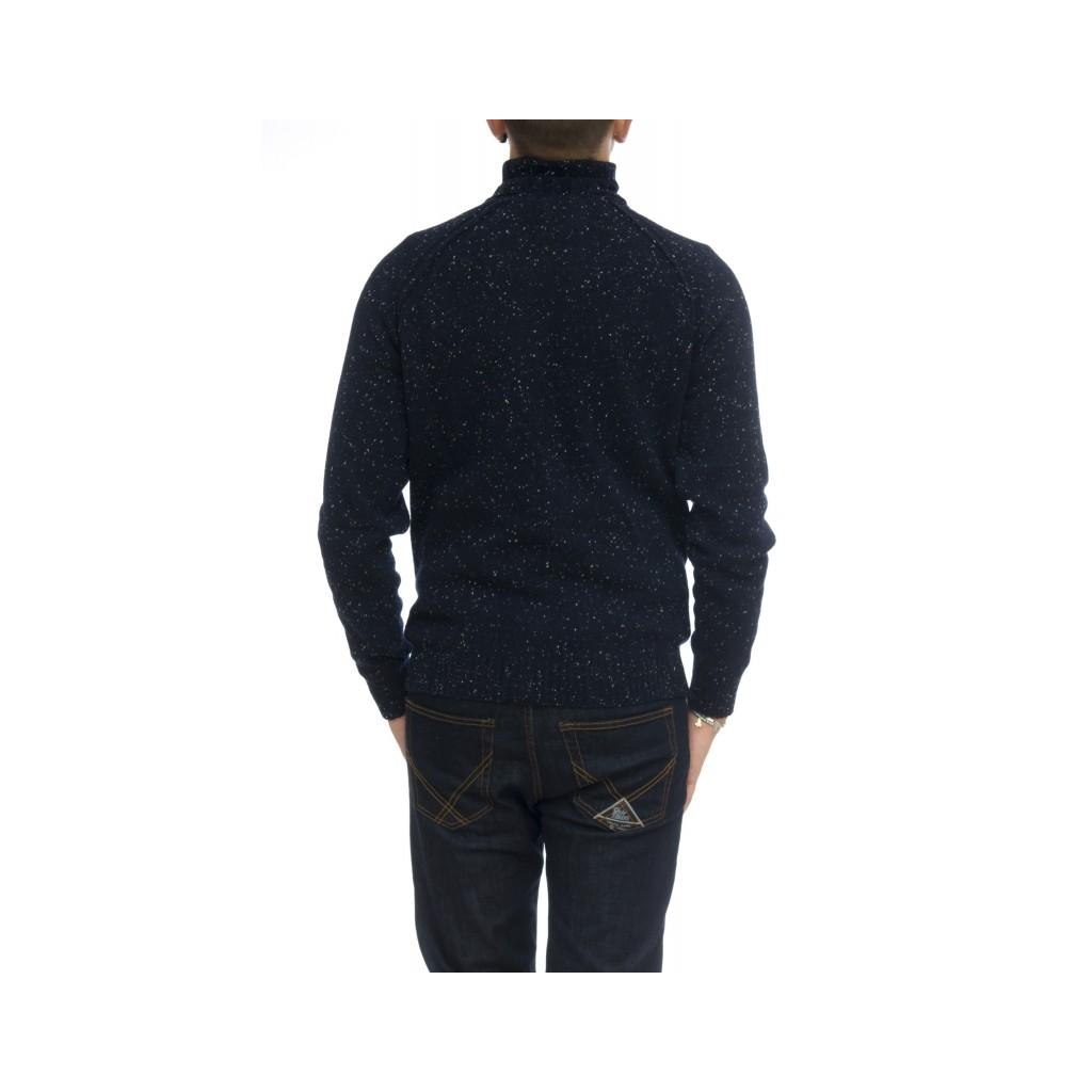 Maglia uomo - 1883004/t lavorazione bottonato 100 merinos collo alto Navy