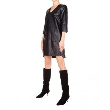 Mini abito in eco pelle Black