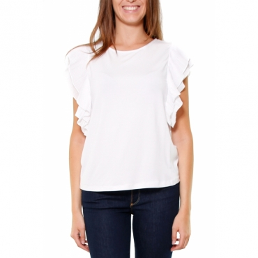 TOP VISCOSA STRETCH CON BALZE PLISSET BIANCO