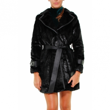 TRENCH ECOLOGICAL FUR WITH BLACK ECO-LEATHER PROFILES