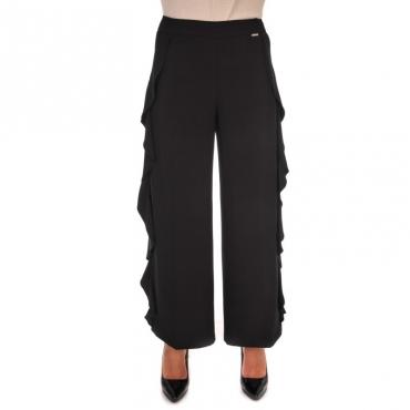 Pantalone cropped tricottina con volants laterali NERO