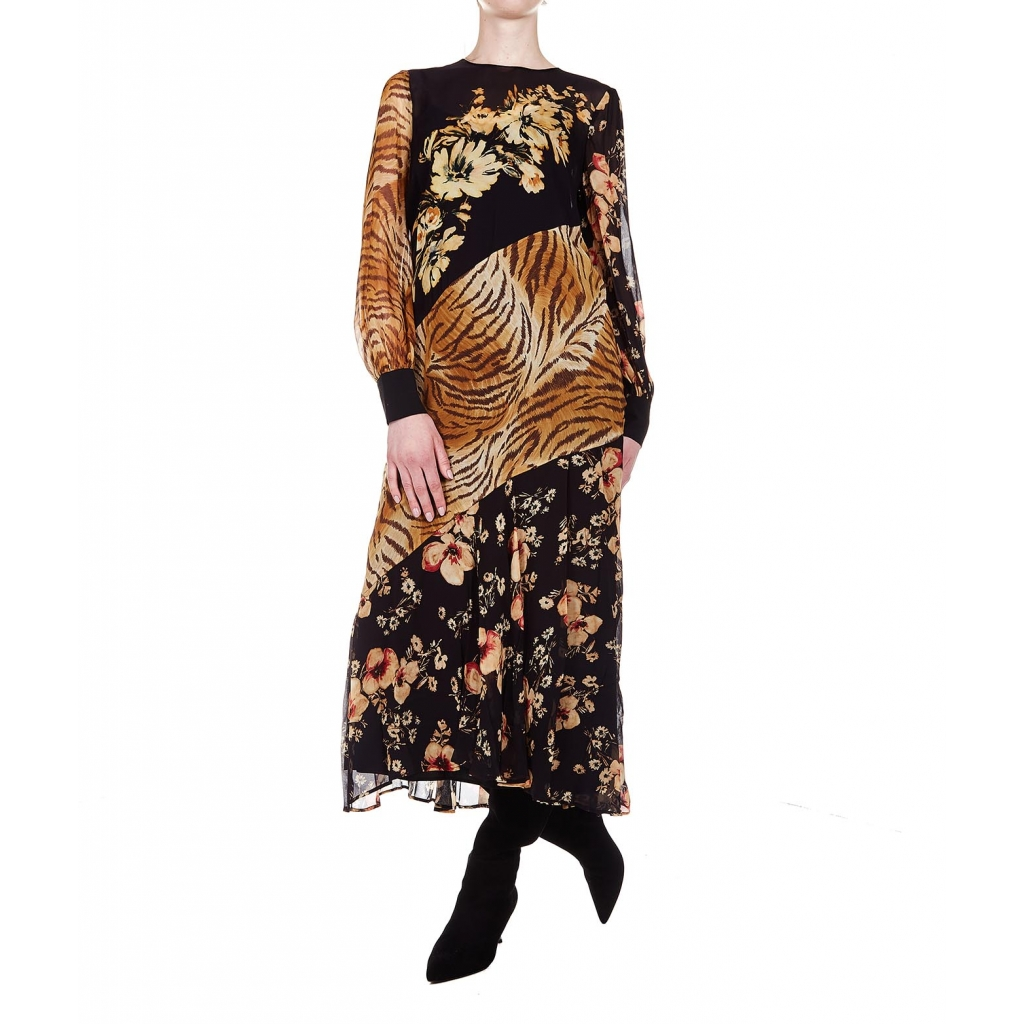 Dress with floral print and animalier Black