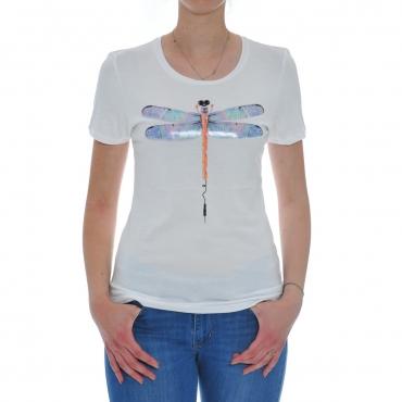 Tshirt Donna Rebello Bamboo Cotone Organico Tw01 TEC 0001 BIANCO