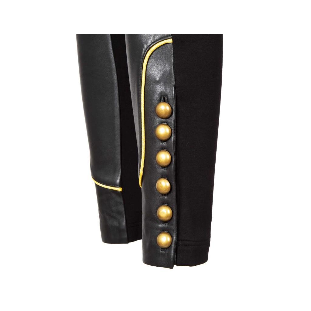 leggings in leder und stoff mit z99black goldkn pfen. Black Bedroom Furniture Sets. Home Design Ideas