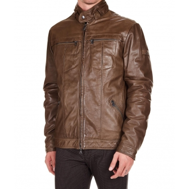 Giacca in pelle Centerville Brown
