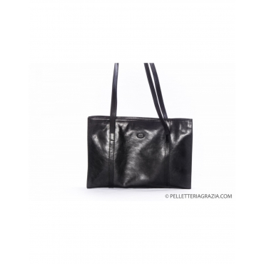 Handtasche aus Leder Schwarz Schulter