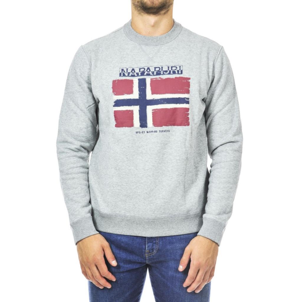 5ad27459e66a0 Napapijri Men s Sweatshirt Lap Neck Flag 160 MED GRAY