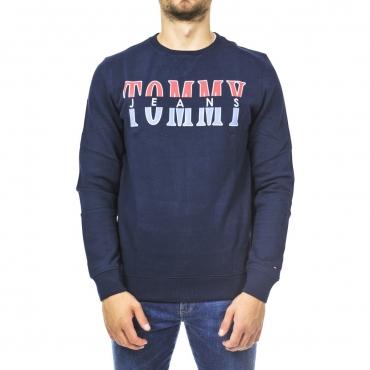 Felpa Tommy Hilfiger Jeans Uomo Girocollo Logo 080 BLACK IRIS