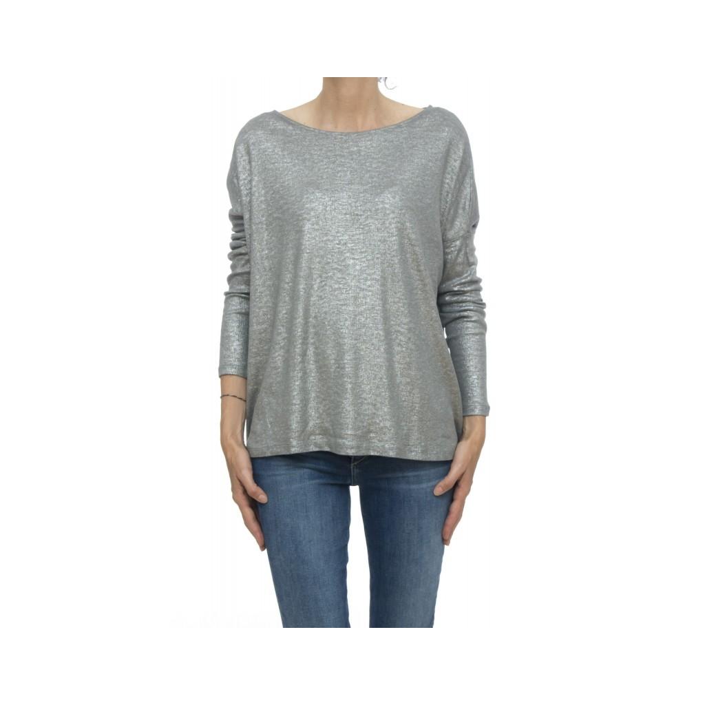 T shirt manica lunga - Fts013 j013 70 cotone 15 cashmeire 15 seta 701 - Metal grey