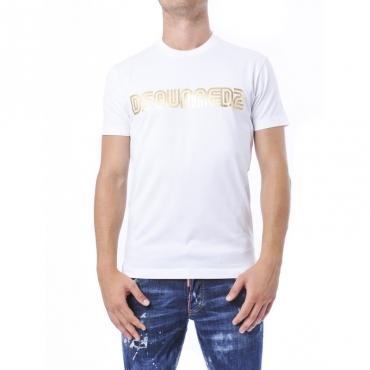 T-shirt uomo in cotone bianco e oro con logo metallico BIANCO