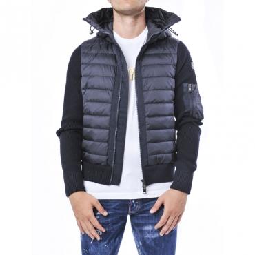 Maglia cardigan in filato di pura lana e acrilico con cappuccio NERO-BLU