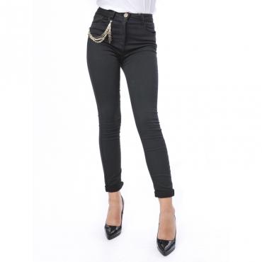 Pantaloni skinny con catena laterale con logo Nero