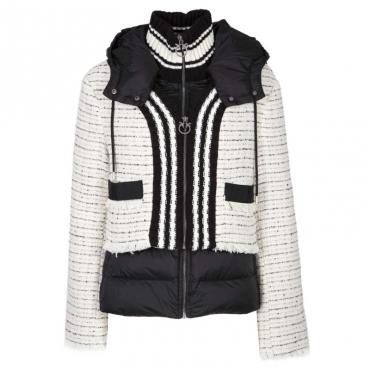 Piumino con cappuccio e giacca in tricot ZE9MULNERO/B