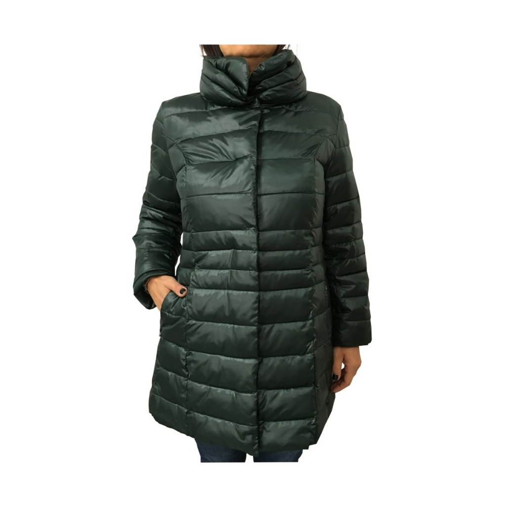 ELENA MIR long woman down jacket 82 cm with buttons and zip Green ... 351192bc2fa
