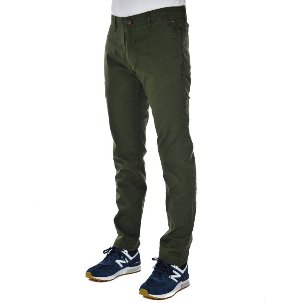 Trousers Tommy Hilfiger Jeans Men Chino Slim Essent 397 FOREST NIGHT